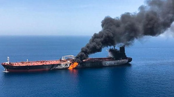Oil Tanker burning in Oman Sea